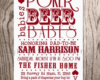 Beer and Poker Baby Shower Invitation