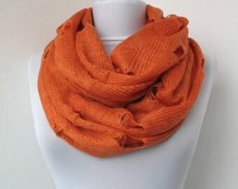 30% OFF SALE - Orange Knit Fabric Scarf - Infinity Scarf - Loop Scarf - Circle Scarf - Soft Scarf  - 666