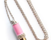 Pink lipstick necklace by Double Dice - DoubleDice