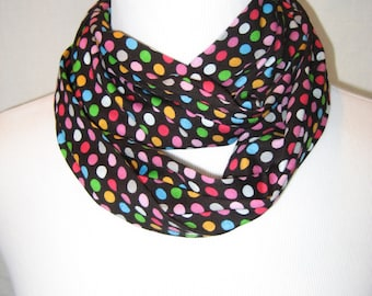 Small Whimsical Rainbow Dots on Black Jersey Knit Infinity Scarf - Baby Toddler Kids Childrens PHOTO PROP Scarf
