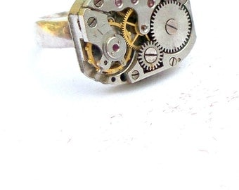 Steampunk Ring Sterling Silver Ring Size Five and a Half Fantasy Goth Womans Accessories gift ideas Statement necklace Gemstone teen jewelry