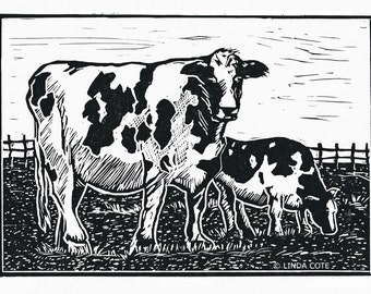 The Girls, Linocut Relief Print, Hand Pulled Fine Art, Limited Edition, Printmaking Original