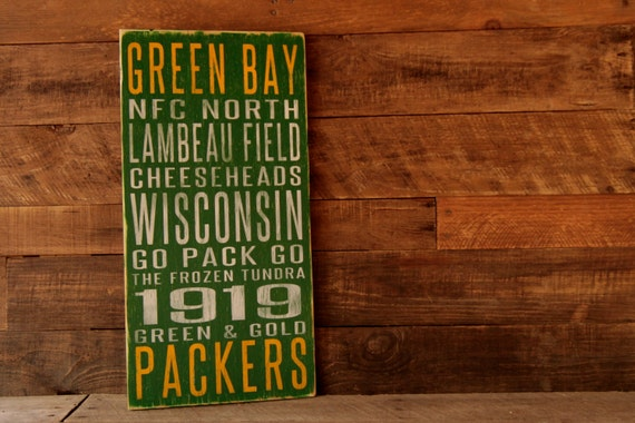 Green Bay Packers Distressed Wood Sign--Great Father's Day Gift!