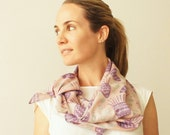 Scarf, limited edition wearable art, cotton voile Purples