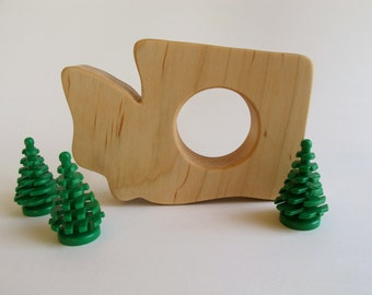 Wood Toy -  Washington State Teether - organic, safe and natural for baby
