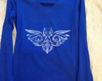 Celtic Knot, Celtic Owl, Dark Blue, Long Sleeved Shirt
