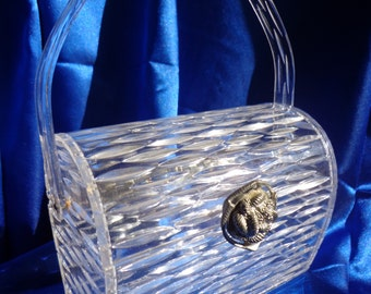 Vintage WILARDY Clear Carved Lucite Purse Carved in a Stunning Design- Wilardy's  Silver Clasp B15