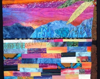 Magenta Sunset Over Water Abstract Art Quilt