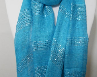 Blue Sparkle Scarf Shawl Mothers Day Gift Cowl Scarf Sparkly Scarf Blue Wedding Scarf Women Fashion Accessories Gift Ideas For Her For Mom