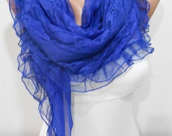 Cobalt Blue Scarf Shawl Blue Wedding Scarf Shawl Lace Bridesmaids Gift Fall Winter Women Fashion Accessories Christmas Gift For Her For Mom