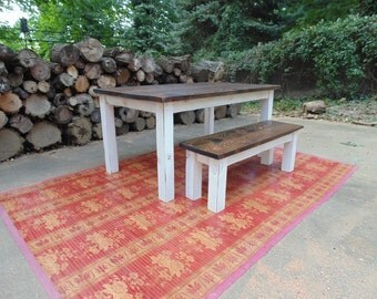Dining Table  Farmhouse Table  Reclaimed Wood Table  Kitchen Table  Custom  Table Frederick Dining Table Chevron Trestle Farmhouse Reclaimed. Farmhouse Dining Table Made In Usa. Home Design Ideas