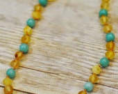 Luxury Baltic Amber and Amazonite Baby RAW Teething Necklace Rounded Beads - It's A Boy FREE SHIPPING