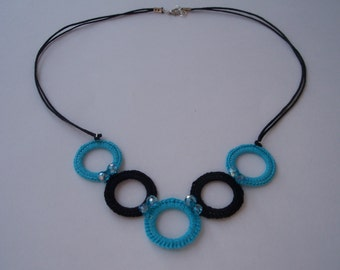 Necklace with crochet circles