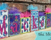 Personalized Wooden Name Blocks Centerpiece Birthday Party Girl Pink Lime Green Purple Teal Turquoise Tulle Flower Snowflake