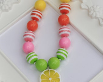 Lemon Chunky necklace, Lemon gumball necklace, Citrus, Girls Lemon Necklace