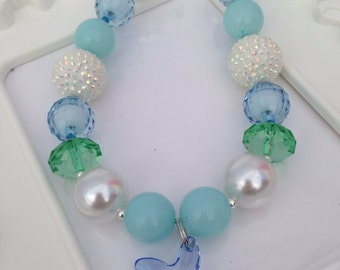 Blue starfish chunky necklace, girls starfish necklace, Under the Sea chunky necklace, starfish gumball necklace
