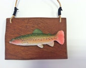 Brook Trout Replica Fish on Mahogany plaque - Faux Taxidermy