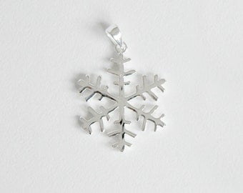 sterling silver snow flake pendant - 3pcs - snowflake crystal charm - sterling silver snow flake - .925 snow flake - sterling snow crystal