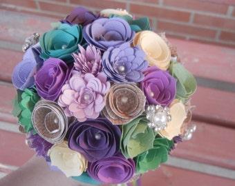 Medium Custom Handmade Paper Wedding Bouquet Bride or Bridesmaids Bouquet ANY COLORS Greens, Purples, Cream, Burlap