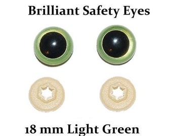 18mm Safety Eyes Light Green Brilliant with Round Pupil (One Pair)
