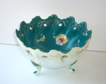Porcelain Footed Bowl 1930's Teal Blue Cut Out Dish Hand Painted Pansies