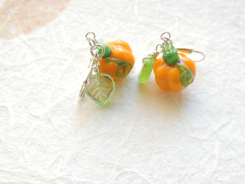 pumpkin earrings fall earrings orange pumpkin earrings fall
