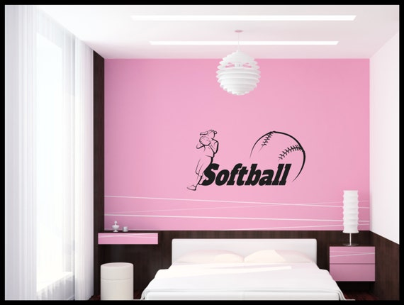 Softball teen girl bedroom wall art wall decal wall for Wall art for teenage girl bedrooms