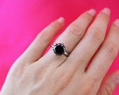Huge 2.8 Carat Certified Natural Round 6 Prong Solitaire Black Diamond Engagement Ring, 14k White Gold