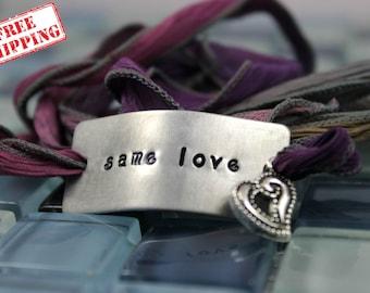 Same Love Bracelet / LGBT Jewelry / Gay Rights Bracelet / LGBT Bracelet / Lesbian Bracelet / Gay Rights Jewelry / Custom Silk Wrap Bracelet