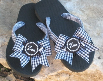 FLIP FLOPS with BOWS, Classic Taffeta Ribbon, Many Colors, Monogrammed, Personalized, Summer or Winter Cruise Sandals, Comfy Straps, Flats