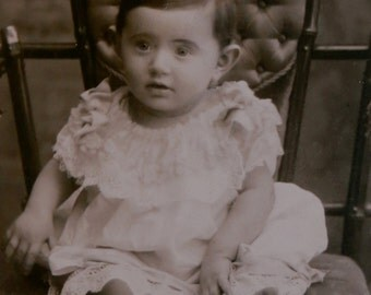 Cute 1880's Little Greek Baby CDV Photograph - Free Shipping