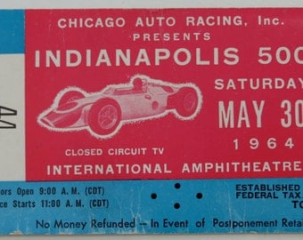 Original 1964 Indianapolis 500 Auto Race Closed Circuit TV Telecast Ticket - Chicago Amphitheatre - Free Shipping