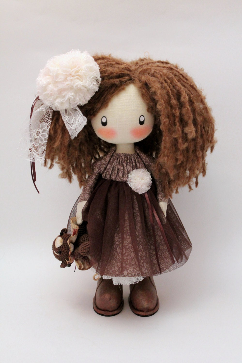 Cute doll Lily MADE TO ORDER brown textile cloth doll