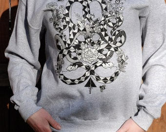 Snake Charm Print || Light Grey Crew
