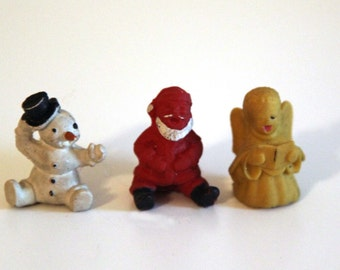 Vintage 60s 70s rubber erasers lot of 3 Christmas