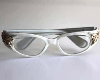 Vintage 50s cat eye glasses pearl white gold