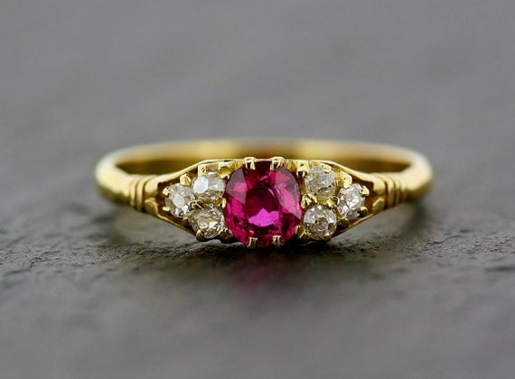 Antique Ruby Ring Victorian 18ct Gold Ruby and Diamond