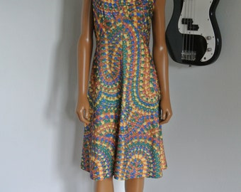 1960s Mod Dress Leslie Fay Floral Day Dress Hippie Hipster Tea Dress