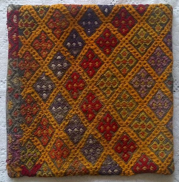 Turkish Rug Orange: Vintage Turkish Kilim Carpet Rug Pillowcase Wool Orange