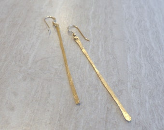 Long Gold Earrings, Gold Bar Earrings, Thin Gold Earrings, Modern Earrings, Minimalist Earrings, Dangle Earrings, Simple Earrings,  Everyday