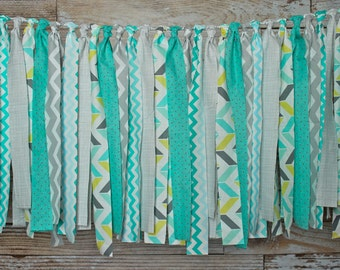 Fabric Garland Backdrop / Fabric Garland Banner / Photography Prop / Birthday Party Decor / Turquoise / Teal / Grey