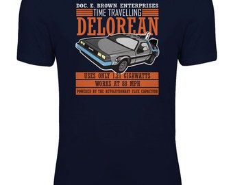 Back to the Future - Doc E. Brown Enterprises Time Travelling Delorean Womens T-shirt