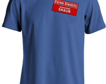 Shaun of the Dead Zombie Movie - Foree Electric Namebadge T-shirt