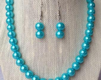 Turquoise Necklace, Turquoise Wedding, Turquoise Bridesmaid Necklace, Turquoise Pearl Necklace, Light Blue Necklace, Bridesmaid Gift