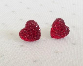 Red Heart Stud Earrings, Red Rhinestone Earrings, Red Beaded Earrings, Red Heart Jewelry, Red Beaded Jewelry, Red Earrings