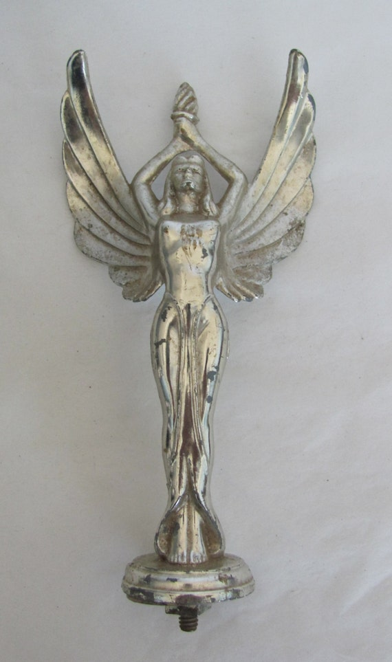 vintage cast metal silvertone winged victory with torch