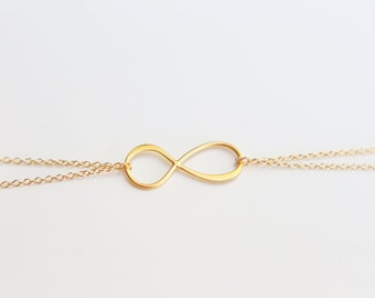 Infinity Bracelet - Double Chain Bracelets with infinity charm in Sterling silver and Gold filled  EB018