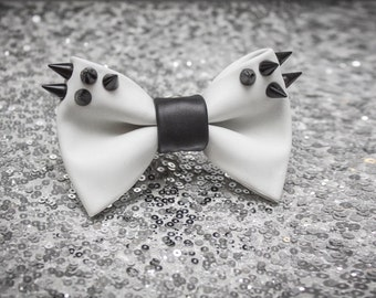 White Leather Black Spiked Bow Tie