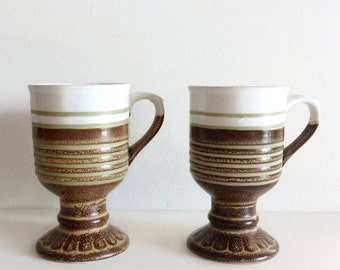 Pair Vintage Stoneware Striped Brown Green White Pedestal Mugs Seventies