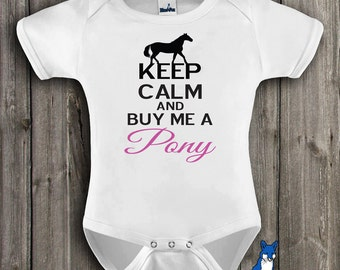 Funny baby bodysuit, Pony Baby, Keep Calm And Buy Me A Pony, Horse baby clothing,Equine Clothing,Horses,Pony,Farm baby,Blue Fox Apparel,180